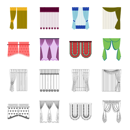 Curtains, stick, cornices, and other web icon in cartoon,outline style.Bow, fabric, tulle icons in set collection. Vectores