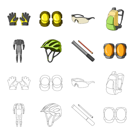 Full-body suit for the rider, helmet, pump with a hose, knee protectors.Cyclist outfit set collection icons in cartoon,outline style vector symbol stock illustration web. Çizim
