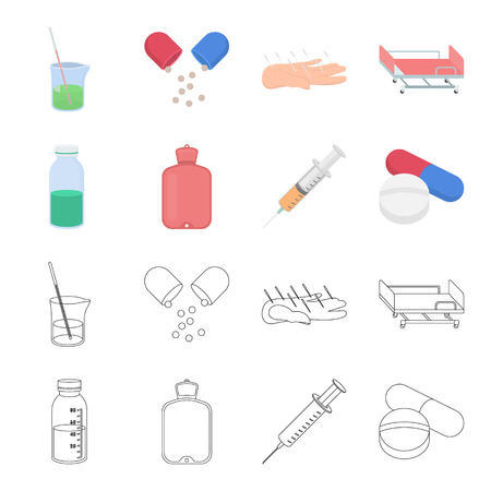 Medicine set collection icons in cartoon,outline style vector symbol stock illustration web. Illustration