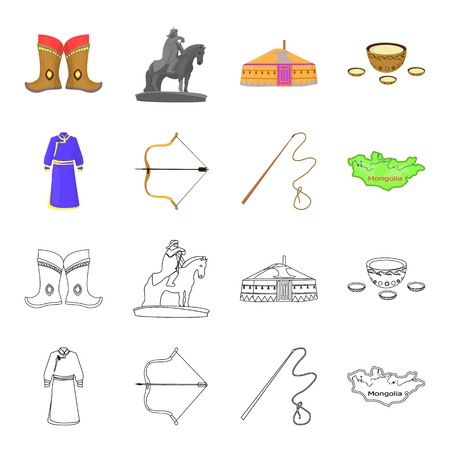 .mongol dressing gown, battle bow, theria on the map, Urga, Khlyst. Mongolia set collection icons in cartoon,outline style vector symbol stock illustration web.