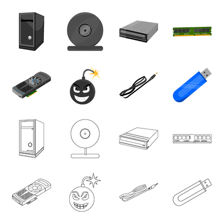 Video card, virus, flash drive, cable. Personal computer set collection icons in cartoon,outline style vector symbol stock illustration web. Иллюстрация