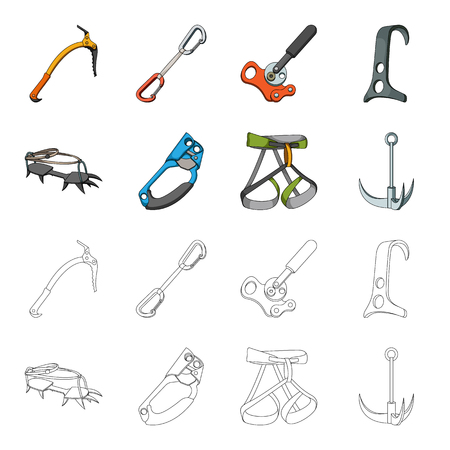 Mountaineering set collection icons in cartoon,outline style vector symbol stock illustration web. Illusztráció