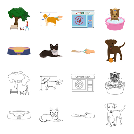 Vet clinic and pet,dog care set collection icons in cartoon,outline style vector symbol stock illustration web.