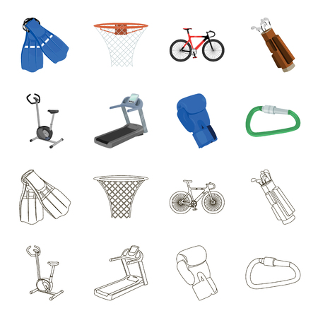 Exercise bike, treadmill, glove boxer, lock. Sport set collection icons in cartoon,outline style vector symbol stock illustration .