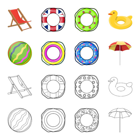 Multicolored swimming circle cartoon,outline icons in set collection for design. Different lifebuoys vector symbol stock web illustration.