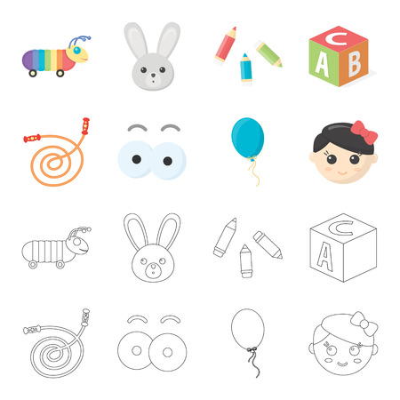 Kids toy cartoon,outline icons in set collection for design. Game and bauble vector symbol stock illustration.