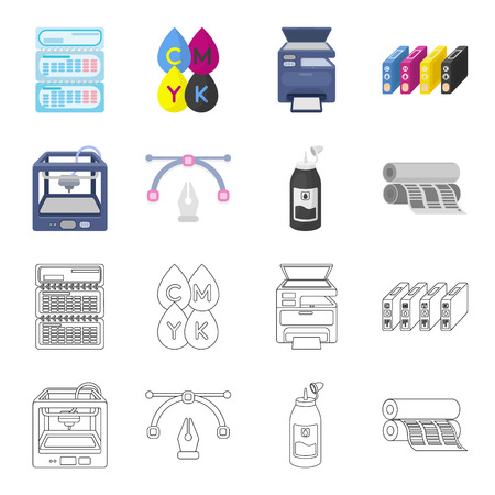 3D printer, newspaper printer, ink, pen. Typography set collection icons in cartoon,outline style vector symbol stock illustration web. Иллюстрация
