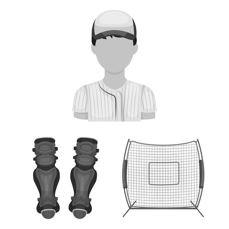 Baseball and attributes monochrome icons in set collection for design. Baseball player and equipment vector symbol stock web illustration.