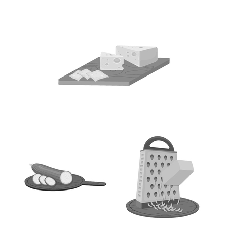 Cooking food monochrome icons Illustration