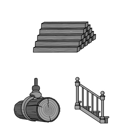 Sawmill and Timber monochrome icons