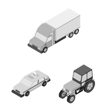 Different types of transport monochrome icons Иллюстрация