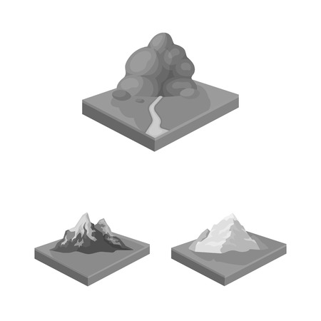 Mountains, massive monochrome icons in set collection for design. The surface of the earth vector isometric symbol stock web illustration.