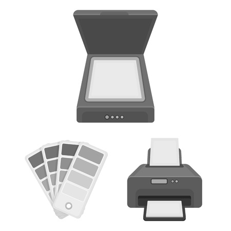 Typographical products monochrome icons in set collection for design. Printing and equipment vector symbol stock web illustration.