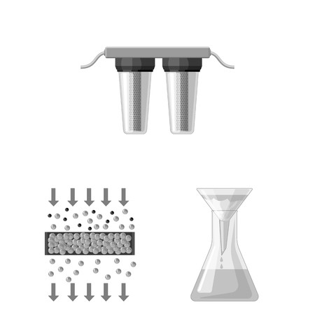 Water filtration system monochrome icons in set collection for design. Cleaning equipment vector symbol stock web illustration.  イラスト・ベクター素材