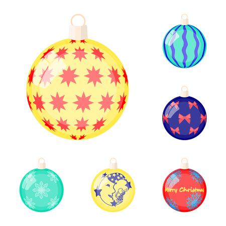 Balls for decoration cartoon icons in set collection for design.Christmas balls vector symbol stock web illustration. Illustration