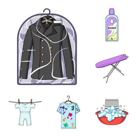 Dry cleaning equipment cartoon icons in set collection for design. Washing and ironing clothes vector symbol stock web illustration. Ilustração