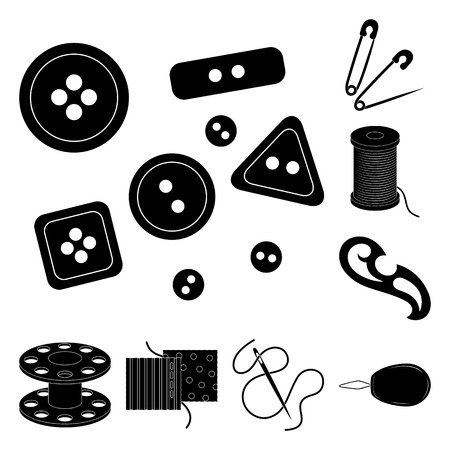 Sewing, atelier black icons in set collection for design. Tool kit vector symbol stock web illustration. Banco de Imagens - 100851218