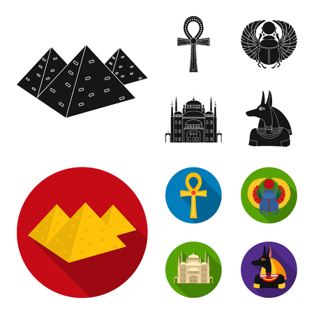Ancient Egypt set collection icons in black, flat style vector symbol stock illustration web.
