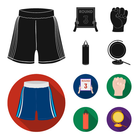 Boxing, sport, round, hand. Boxing set collection icons in black, flat style vector symbol stock illustration web.