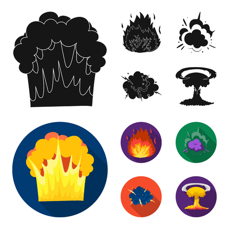 Flame, sparks, hydrogen fragments, atomic or gas explosion. Explosions set collection icons in black, flat style vector symbol stock illustration web.