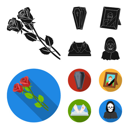 Coffin with a lid and a cross, a photograph of the deceased with a mourning ribbon, a corpse on the table with a tag in the morgue, death in a hood. Funeral ceremony set collection icons in black, flat style vector symbol stock illustration web.