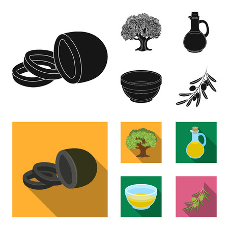 An olive tree, a branch with olives, a vessel and a jug of oil. Olives set collection icons in black, flat style vector symbol stock illustration web.