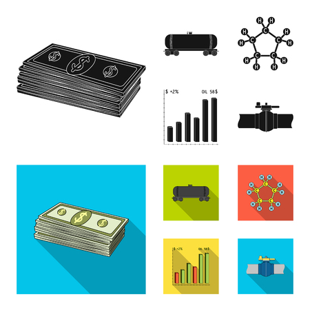Railway tank, chemical formula, oil price chart, pipeline valve. Oil set collection icons in black, flat style vector symbol stock illustration web. 向量圖像