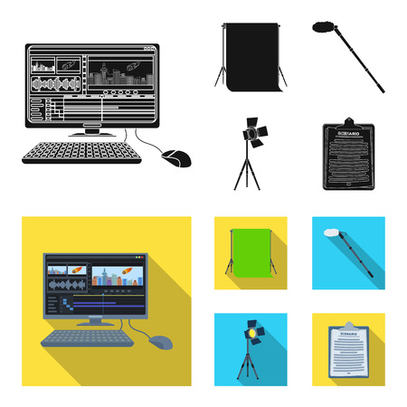 Making movies set collection icons in black, flat style vector symbol stock illustration web.