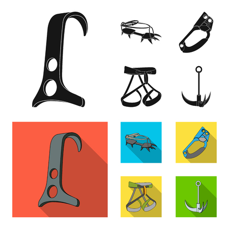 Mountaineering set collection icons in black, flat style vector symbol stock illustration web.