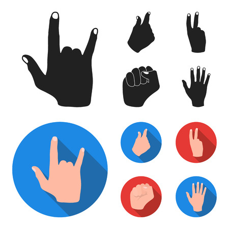 Hand gesture set collection icons in black, flat style vector symbol stock illustration web. Иллюстрация