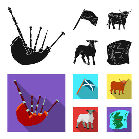 Scotland set collection icons in black, flat style vector symbol stock illustration web.