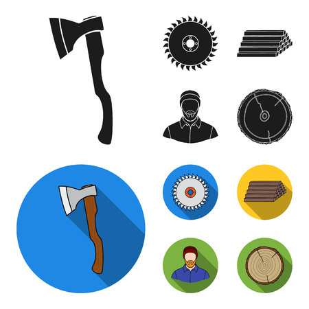 A sawmill and timber set collection icons in black, flat style vector symbol stock illustration web. Ilustrace