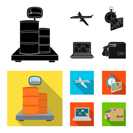 Transport aircraft, delivery on time, computer accounting, control and accounting of goods. Logistics and delivery set collection icons in black, flat style isometric vector symbol stock illustration web.