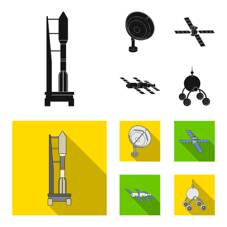 Radio radar, docking in space spacecraft, Lunokhod. Space technology set collection icons in black, flat style vector symbol stock illustration web. Illustration