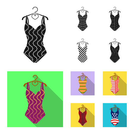Different kinds of swimsuits. Swimsuits set collection icons in black, flat style vector symbol stock illustration web.