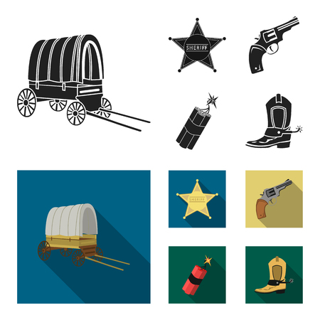 Star sheriff, dynamite and cowboy boot. Wild West set collection icons in black, flat style vector symbol stock illustration web.