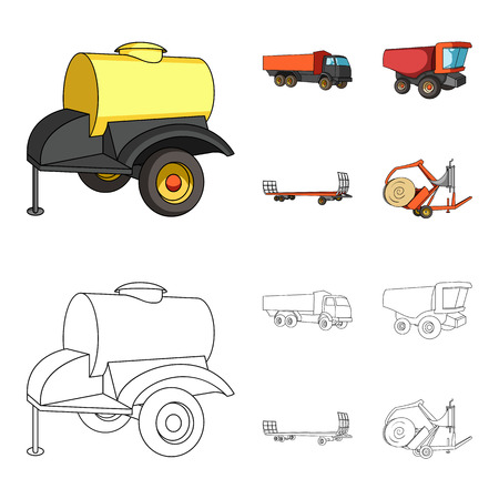Trailer with a barrel, truck and other agricultural devices. Agricultural machinery set collection icons in cartoon,outline style vector symbol stock illustration web. 向量圖像
