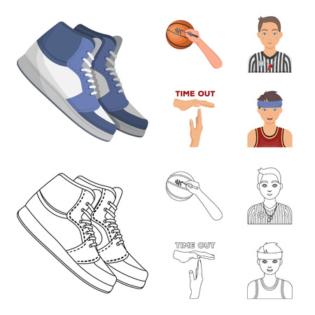 Basketball and attributes cartoon, outline icons in set collection for design. Basketball player and equipment vector symbol stock web illustration.
