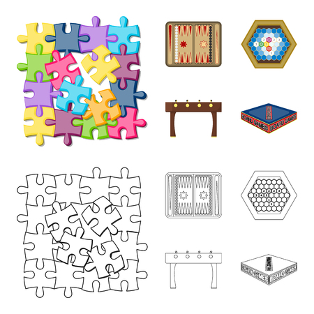 Board game cartoon, outline icons in set collection for design. Game and entertainment vector symbol stock web illustration.
