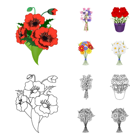 A bouquet of fresh flowers cartoon, outline icons in set collection for design. Various bouquets vector symbol stock web illustration. 矢量图像