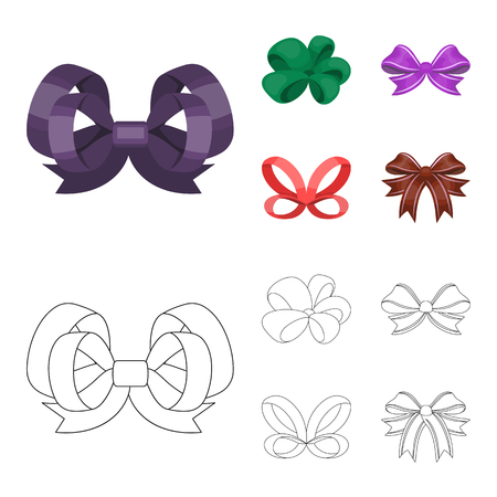 Ornamentals, frippery, finery and other web icon in cartoon,outline style. Bow, ribbon, decoration, icons in set collection. Vettoriali