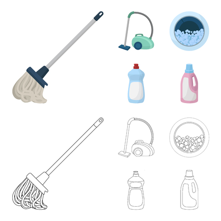 A mop with a handle for washing floors, a green vacuum cleaner, a window of a washing machine with water and foam, a bottle with a cleaning agent. Cleaning set collection icons in cartoon,outline style vector symbol stock illustration web.
