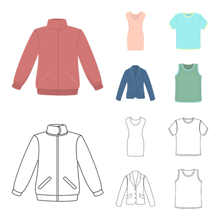 A mans jacket, a tunic, a T-shirt and a business suit. Clothes set collection icons in cartoon, outline style vector symbol stock illustration web.