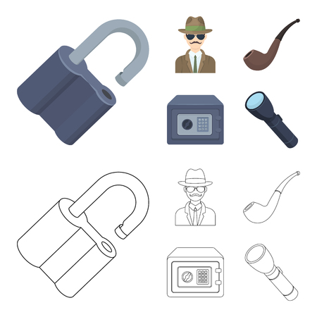 Lock hacked, safe, smoking pipe, private detective. Detective set collection icons in cartoon, outline style vector symbol stock illustration web.