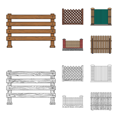 A fence of metal and bricks and wooden palisade. A different fence set collection icons in cartoon,outline style vector symbol stock illustration web.