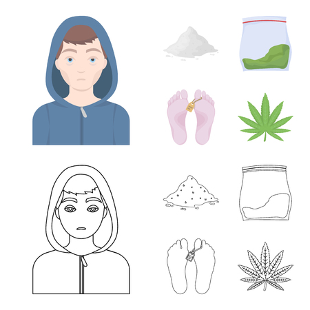 Addict, cocaine, marijuana and corpse. Drug set collection icons in cartoon, outline style vector symbol stock illustration web.