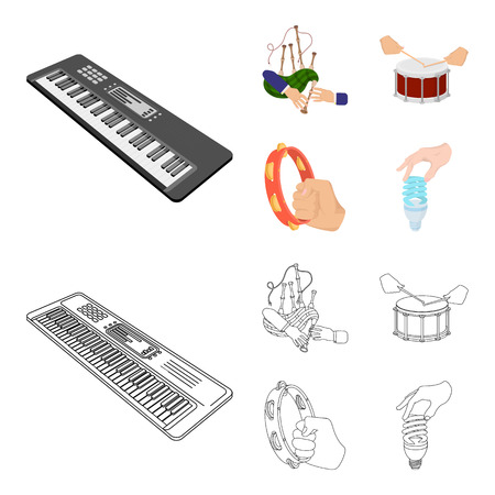 Synthesizer melodies, bagpipes Scotch and other web icon in cartoon,outline style. drum, drum roll, tambourine in hand icons in set collection.