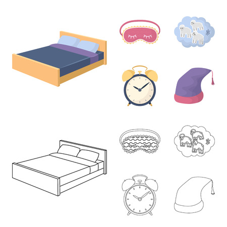 A bed, a blindfold, counting rams, an alarm clock. Rest and sleep set collection icons in cartoon,outline style vector symbol stock illustration web. Stock Illustratie