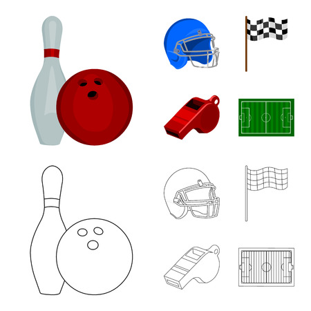 Bowl and bowling pin for bowling, protective helmet for playing baseball, checkbox, referee, whistle for coach or referee. Sport set collection icons in cartoon,outline ,flat style vector symbol stock illustration web.