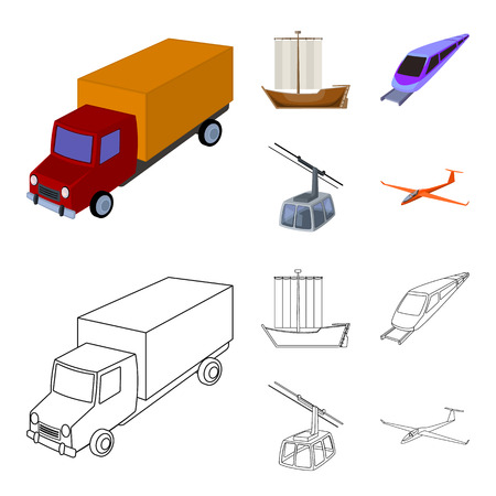 The truck, the boat, the subway, the funicular modes of transport. Transport set collection icons in cartoon,outline style vector symbol stock illustration web.